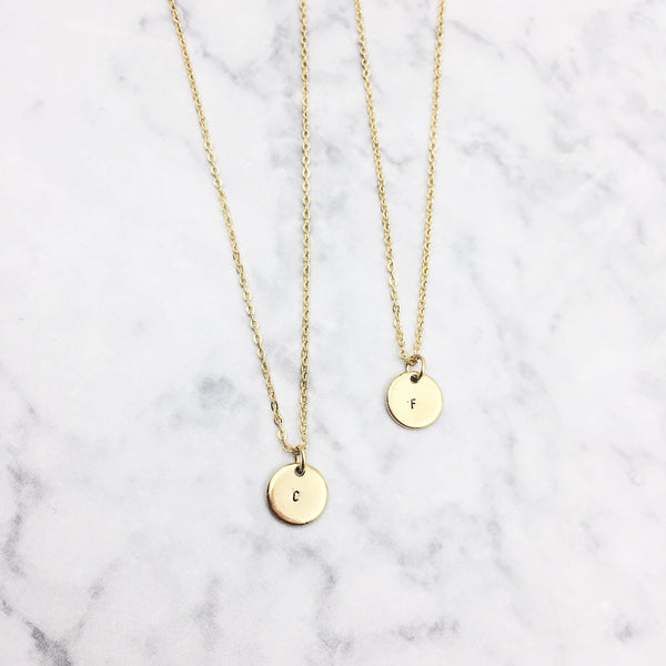 Mini Monogram Disc Gold Filled Necklace
