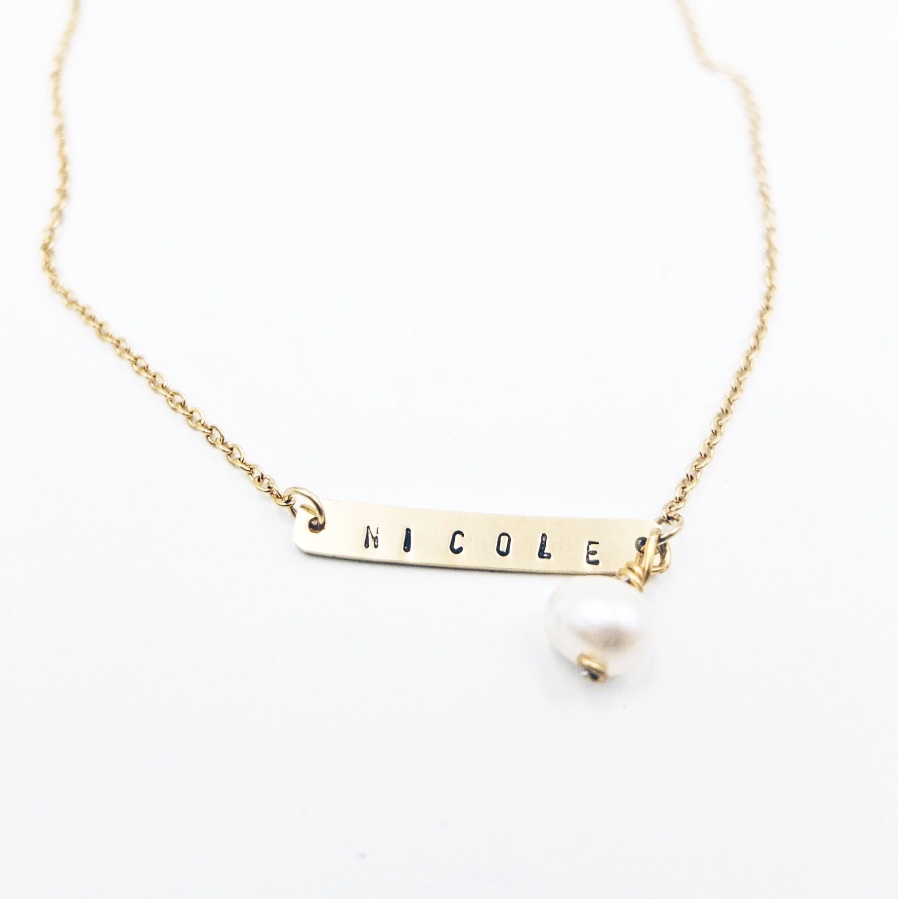 Custom Bar Gold Filled Necklace with Pearl Dangle (8 characters)