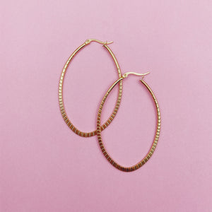 Maxi Textured Oval Hoop Earrings