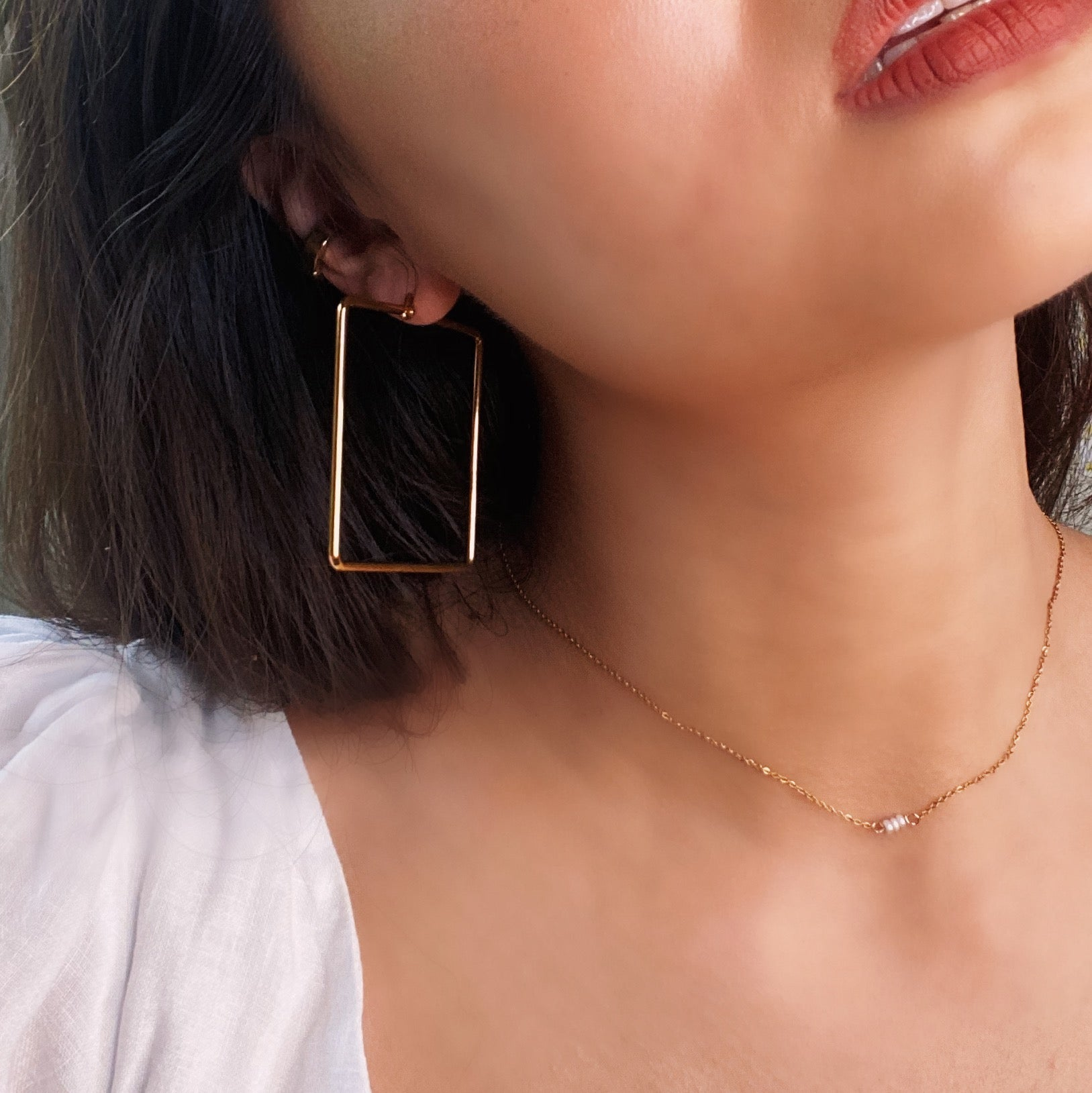 Maxi Square Hoop Earrings