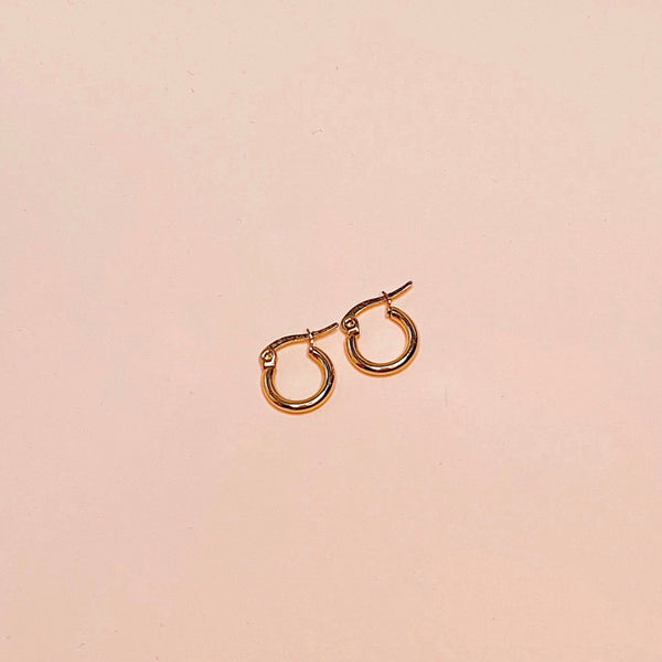 Mini Plain Circle Hoop Earrings