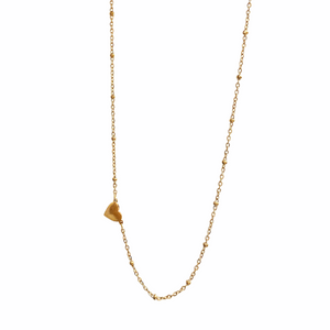 *PRE-ORDER Heart with Mini Beaded Chain Gold Filled Necklace