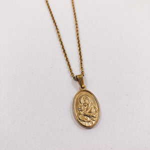 Oval Mother and Child Medallion Necklace