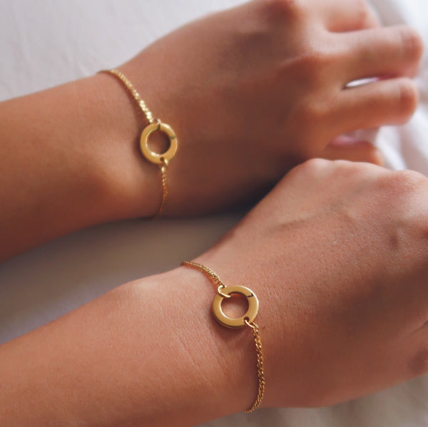 Initial Ring Gold Filled Bracelet
