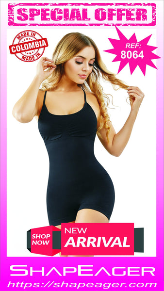 WH-SKU:8064 Short Bodysuit Lightweight Cupped Body Shaper Faja Buttocks enhancer