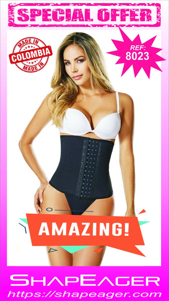 STR-SKU:8023 Corset 3-hook position Waist Cincher natural latex fully lined with a strong but soft fabric