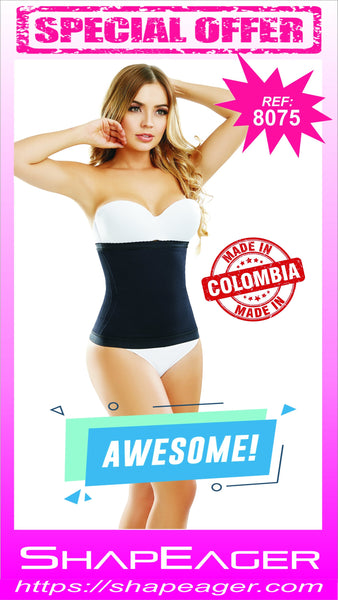WH-SKU:8075 Body Shaper Waist Cincher with side-flexible boning tabletop flat stomach Faja