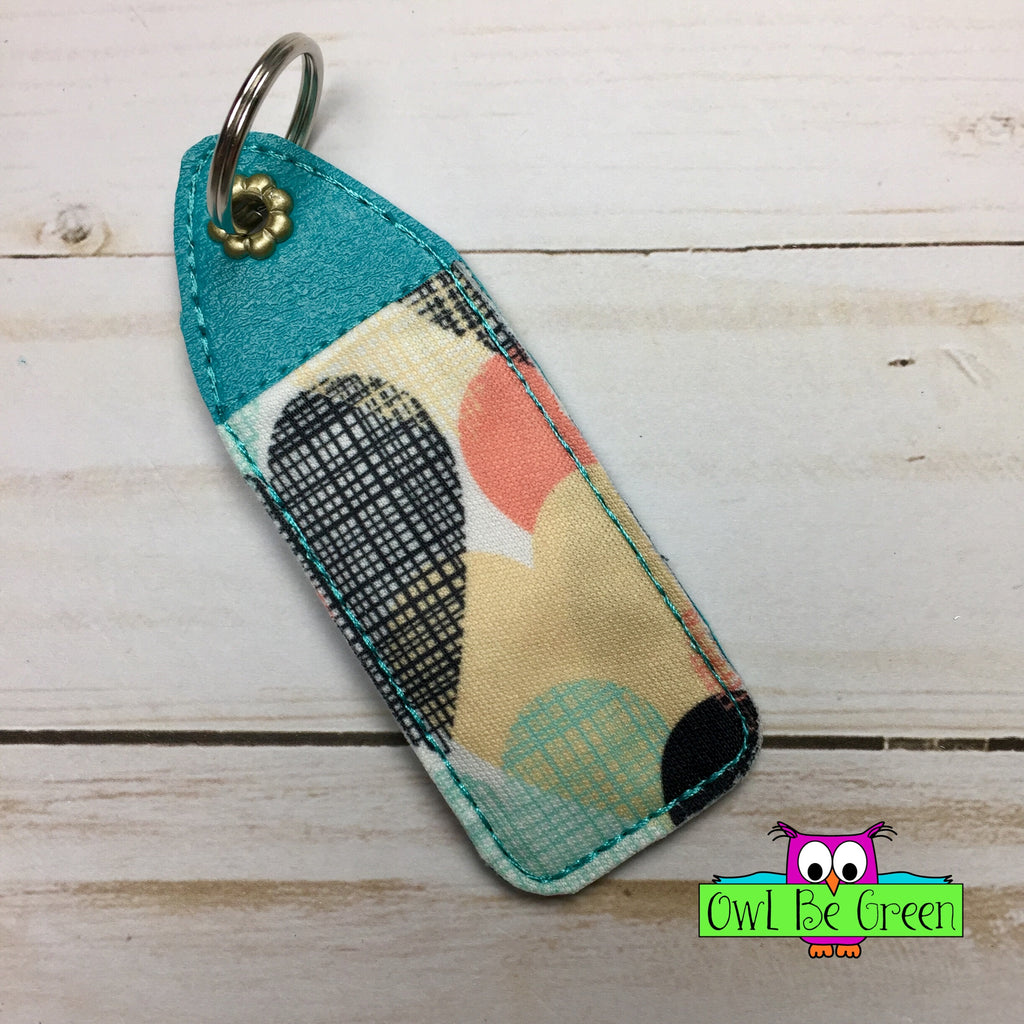 Teal Lip Balm Holder Applique Key Fob - Owl Be Green
