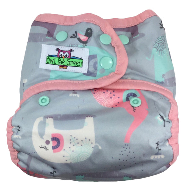 Pastelephants Cloth Diaper - Choose AI2 Cover or Pocket - MADE TO ORDER