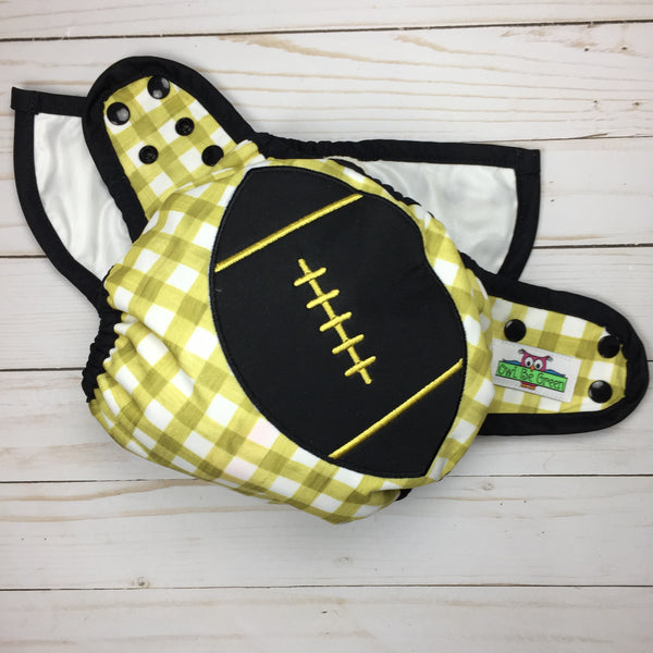 Black and Gold Football Appliqué OS Ai2 Cover - Ready to ship! - Owl Be Green