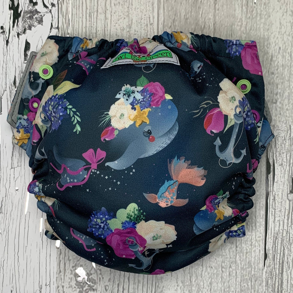 One-size Swim Diaper - Floral Whales
