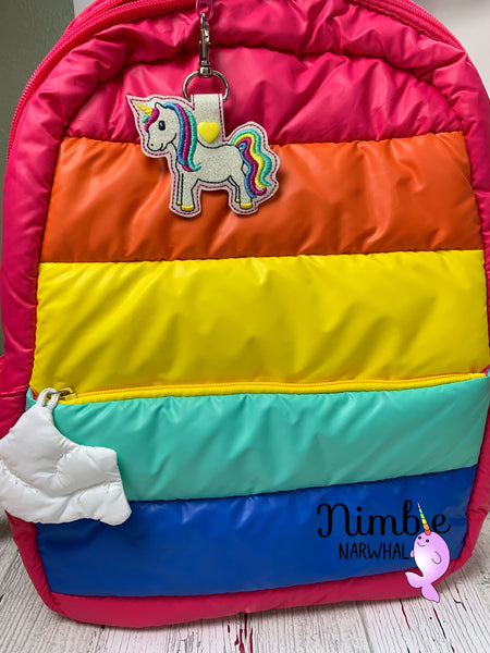 Sparkly Rainbow Unicorn Snap Tab