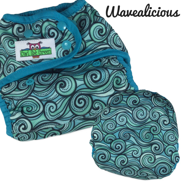 Wavealicious Cloth Diaper -  MADE TO ORDER - Owl Be Green