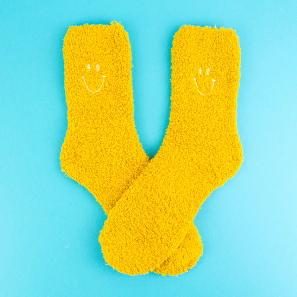 Fuzzy Happy Face Socks