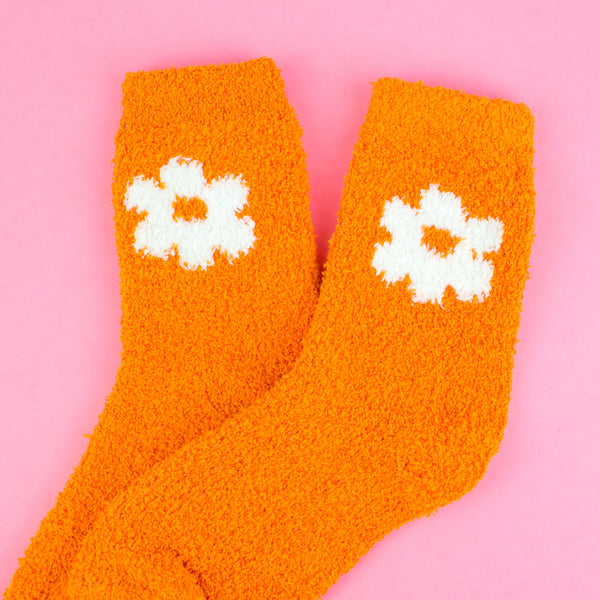 Fuzzy Orange Daisy Flower Socks