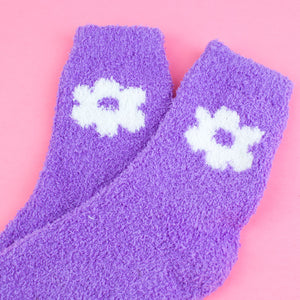 Fuzzy Purple Daisy Flower Socks