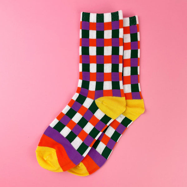 Rainbow Plaid Socks