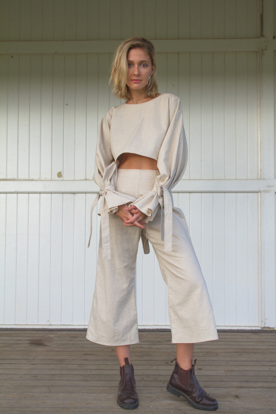IVY CROP PANT - NATURAL