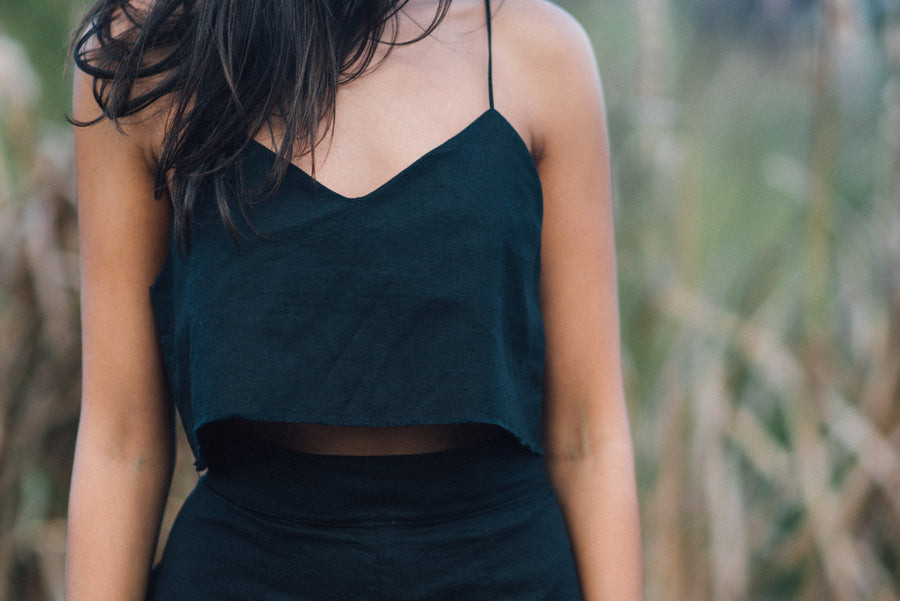 OLIVIA CROP CAMI - BLACK