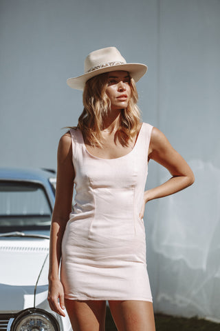 CHELSEA MINI DRESS IN BLUSH