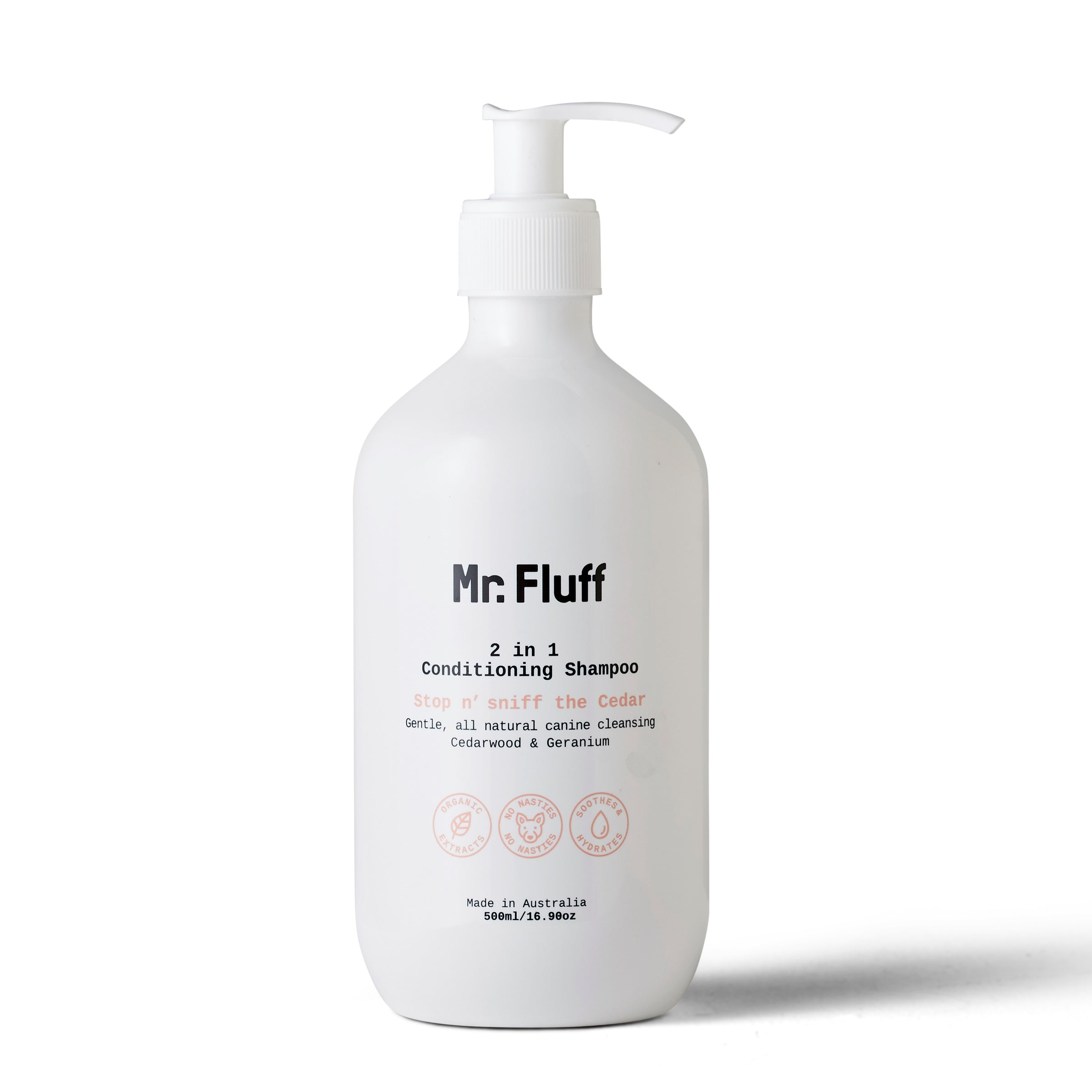 All Natural Vegan Dog Shampoo Mr.Fluff - Cedarwood & Geranium