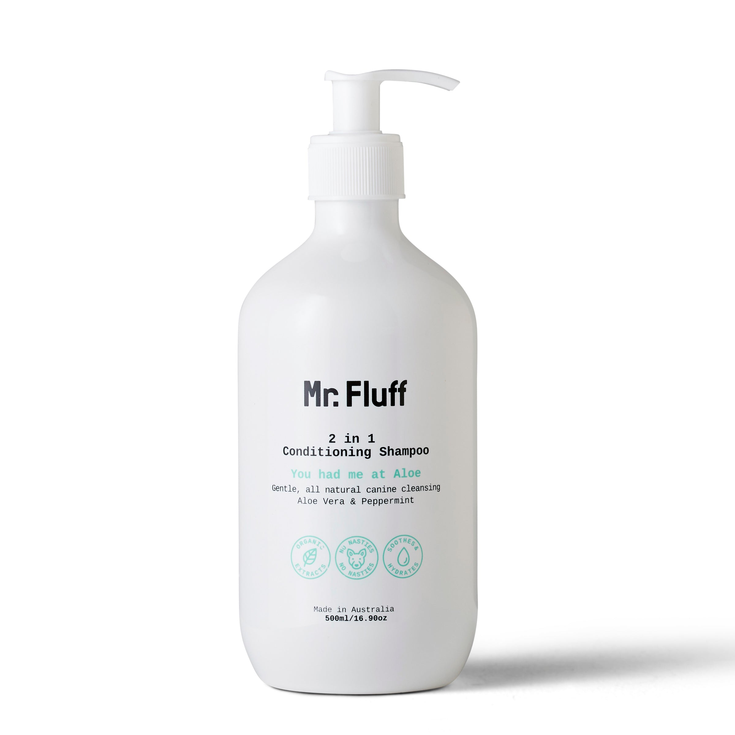 All Natural Vegan Dog Shampoo Mr.Fluff - Aloe Vera & Peppermint