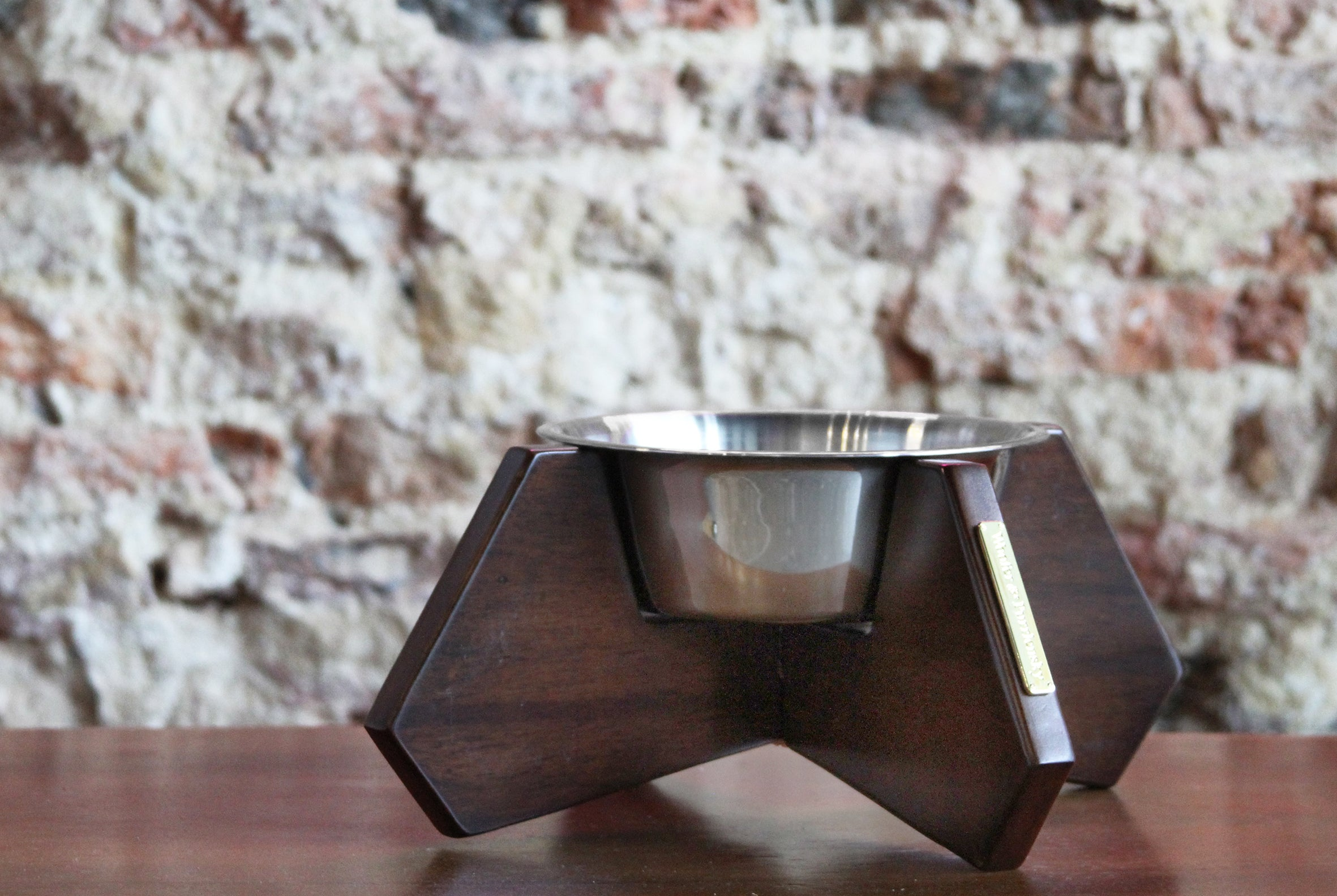Xandro Natural Wooden Bowl Stand (Stainless Steel Bowl included)