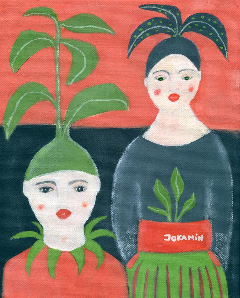 original painting for sale Ireland Jokamin surreal painting self-sufficiency plants women portrait