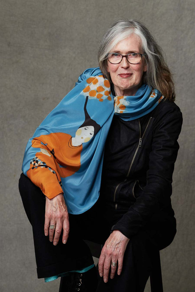 Morning song - blue orange silk scarf/as seen in the the Irish Times Magazine scarves - Jokamin