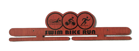 Handcrafted Wooden Medal Hanger - 'Swim Bike Run'