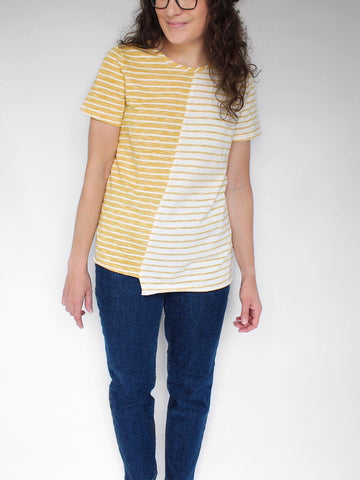 The Gracie Unbalanced Hem Tee in Golden Yellow
