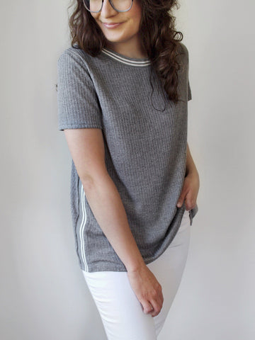The Janey Varsity Stripe Tee in Heather Gray - The Simple Seam