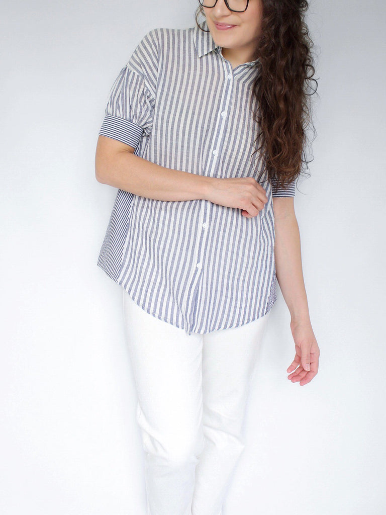 The Samantha Mixed Stripe Blouse in Blue Seersucker