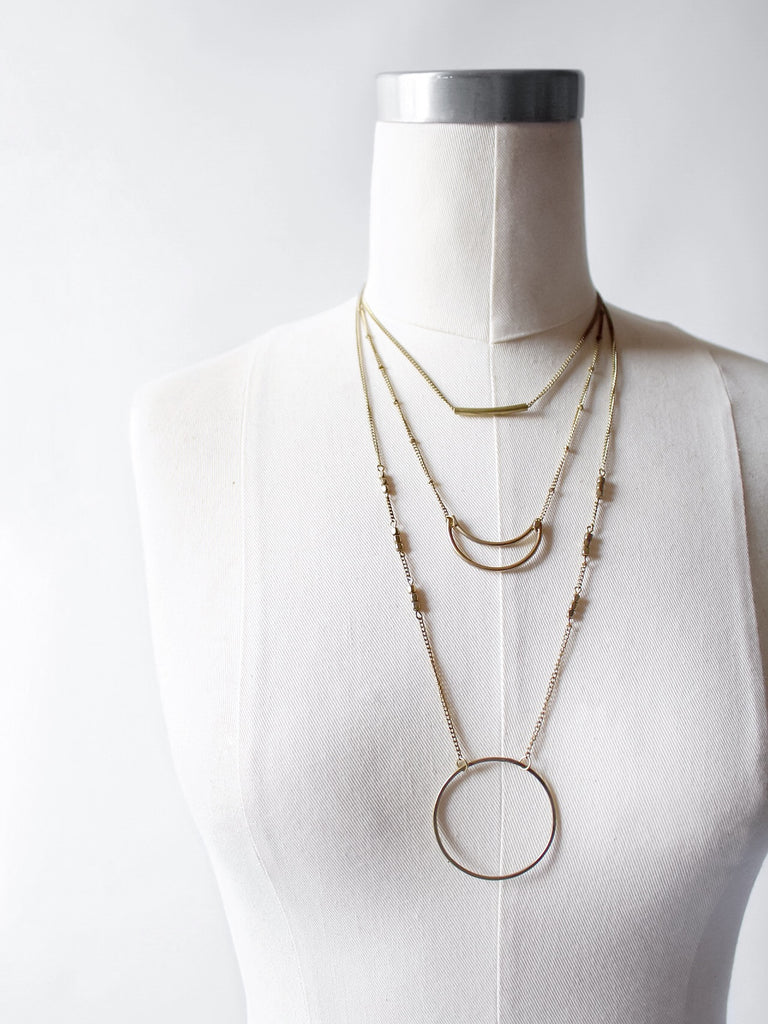 The Geometric Layered Necklace in Antiqued Gold
