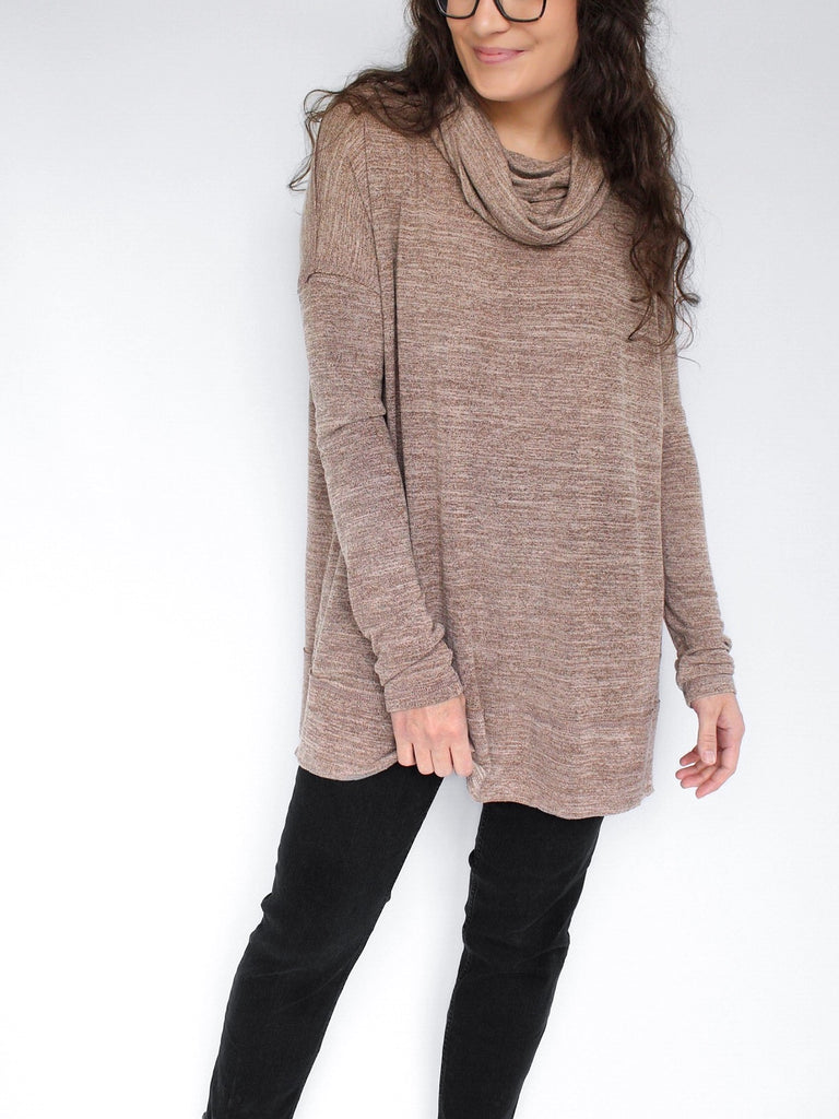 The Mina Lightweight Cowl Neck Tunic in Marled Brown