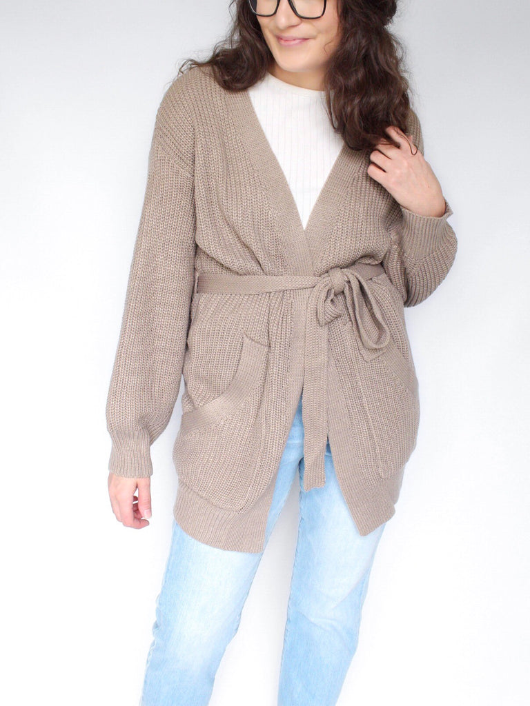 The Selma Belted Cardigan Sweater in Light Taupe