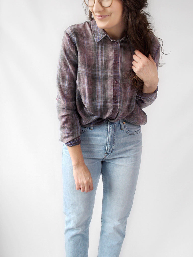 The Quinn Burnout Plaid Shirt in Plum Combo - The Simple Seam
