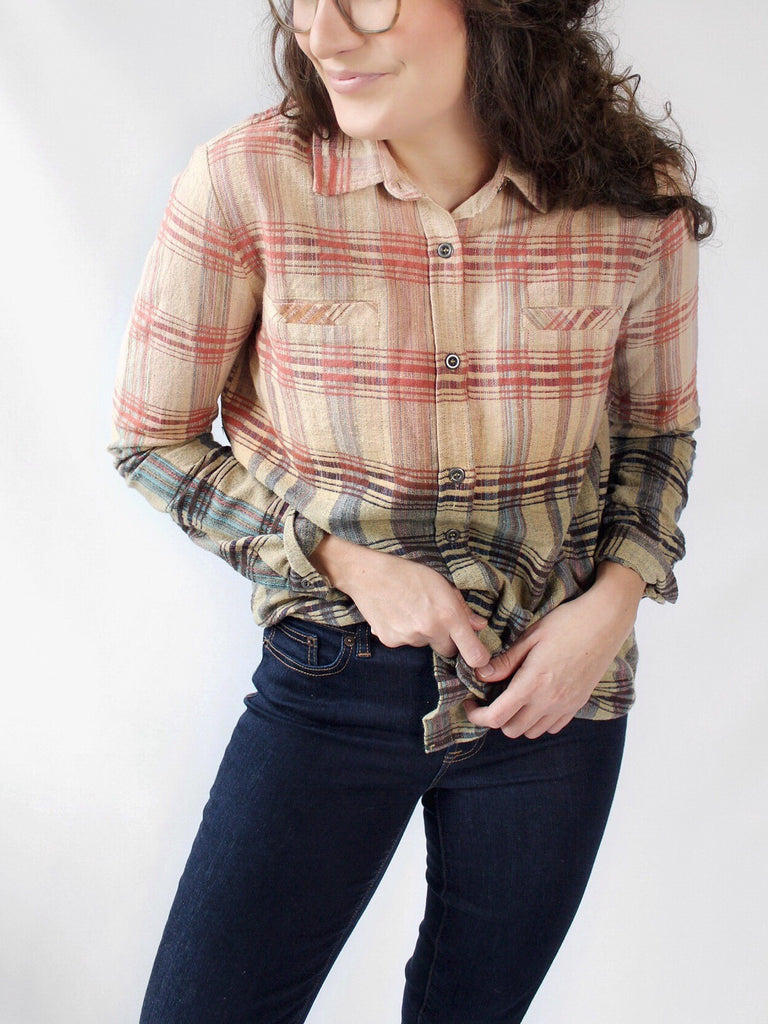 The Vivian Dip Dyed Plaid Shirt in Multi - The Simple Seam