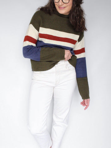 The Abigail Mock-Neck Striped Sweater in Olive Combo