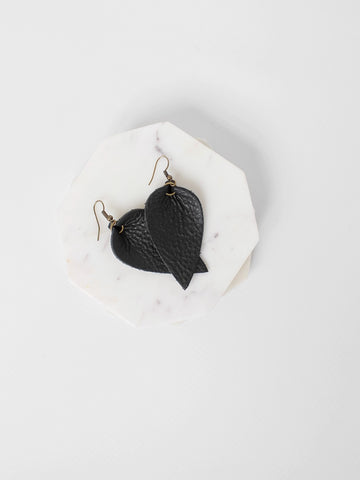 The Handcrafted Leather Petal Drop Earring