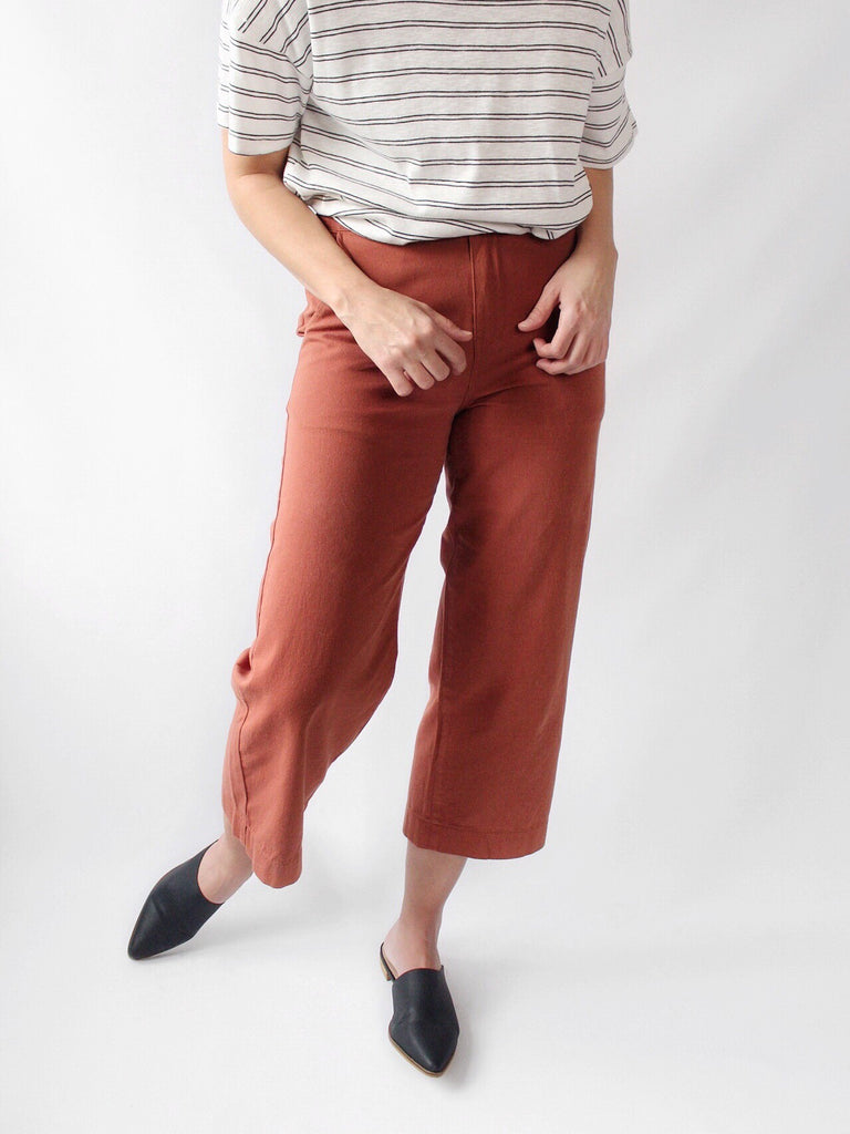 The Rosie Wide Leg Trouser Chino in Cayenne - The Simple Seam