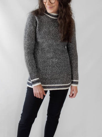 The Ava Mock-Neck Varsity Sweater in Marled Gray