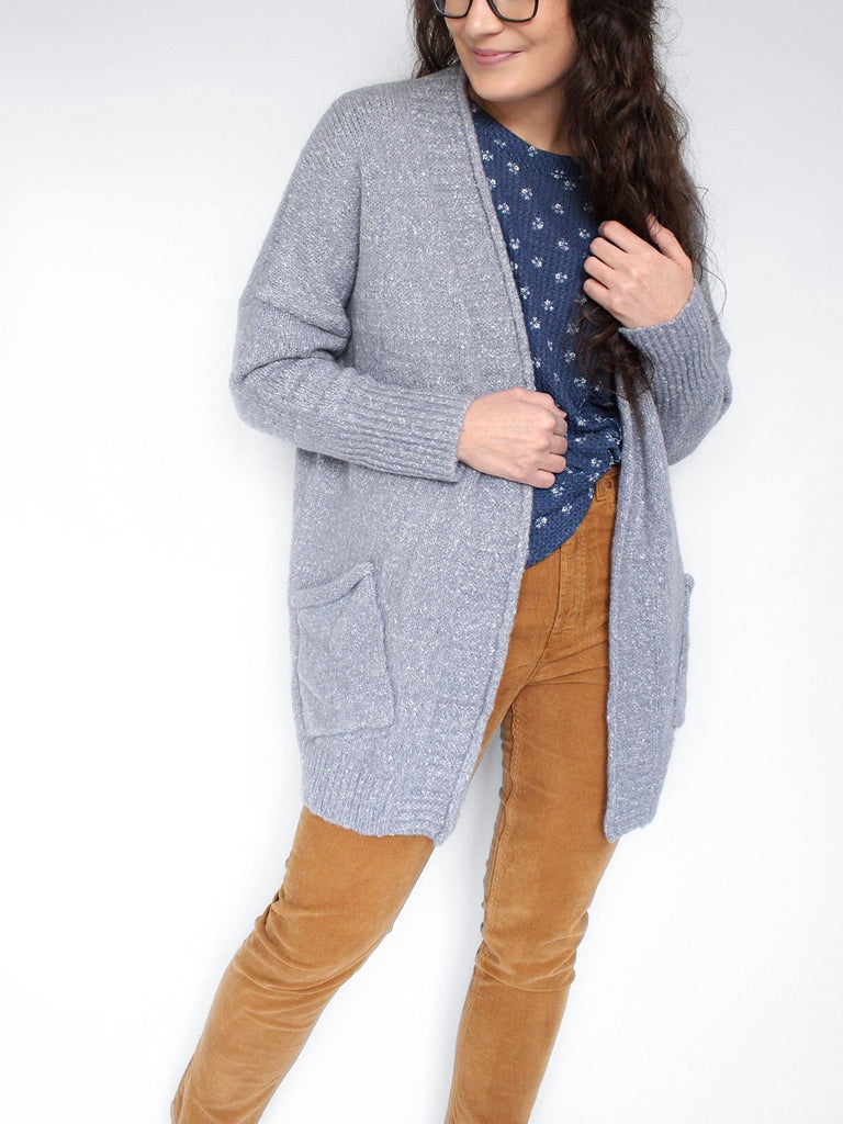 The Cara Marled Cardigan Sweater in Dusty Blue