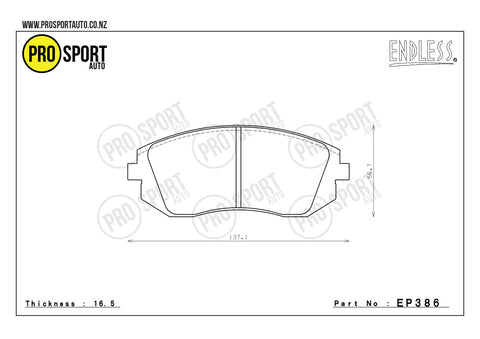 ENDLESS EP386 Brake Pads