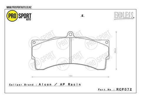 ENDLESS RCP072 Brake Pads