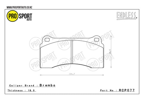 ENDLESS RCP077 Brake Pads
