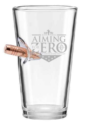 Aiming For Zero - 16oz Pint Glass - Embedded with a 50BMG bullet!