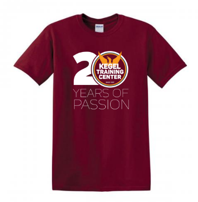"Kegel T-Shirt ""Kegel Training 20 Years"" Maroon"