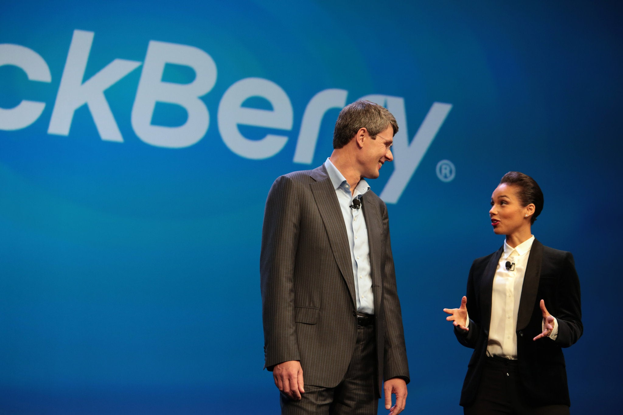 Thorsten Heins, chief executive of BlackBerry, with Alicia Keys on Wednesday.Credit Marcus Yam for The New York Times