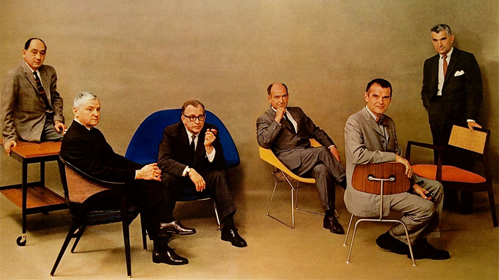 ens Risom featured in a 1961 spread titled Design For Living in Playboy magazine (far right), beside fellow mid-century designers Charles Eames, Harry Bertoia, Eero Saarinen, Edward Wormley and George Nelson